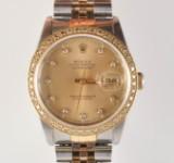 Rolex Datejust Oyster Perpetual Herrambandsur med briljanter, ref 16233