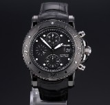 Montblanc 'Sport Chronograph'. Men's watch in PVD-treated steel with black dial, 2010s