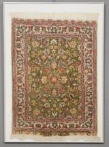 Tyrkisk Kayseri silketæppe i ramme m. glas, 1900-tallet