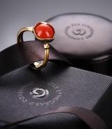 Ole Lynggaard. Lotus ring no. 1, 18 kt. satin-finish red gold,  coral