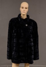 Saga Mink. Twilight-blue mink coat, size 50
