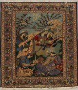 Rug, figural Isfahan, Persia, signed, 160 x 111