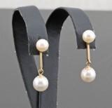 Akoya pearl stick earrings in 9K gold