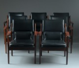 Arne Vodder. Armchairs, model 431, rosewood, with black leather (7)