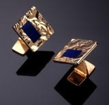 A. & H. Max Andersen, Roskilde. Manchetter af 14 kt. guld med lapis lazuli (2)