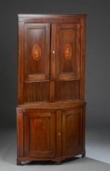 Large Danish empire corner cabinet, mahogany. c. 1800