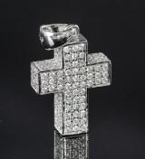 White gold brilliant-cut diamond cross pendant approx. 1.96 ct. - hallmarked