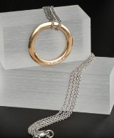 18 kt red gold/white gold necklace, brilliant-cut diamonds