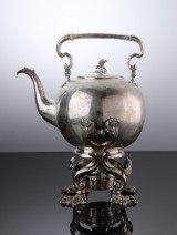 Anton Michelsen. Large silver tilting kettle, 1854