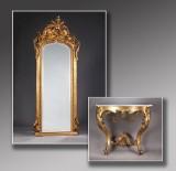 Nyrococo spejl og vægkonsol af forgyldt træ og gesso, 1800-tallets anden halvdel. (2)