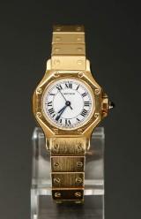 Damearmbåndsur, Cartier Santos Ronde. 18 kt guld