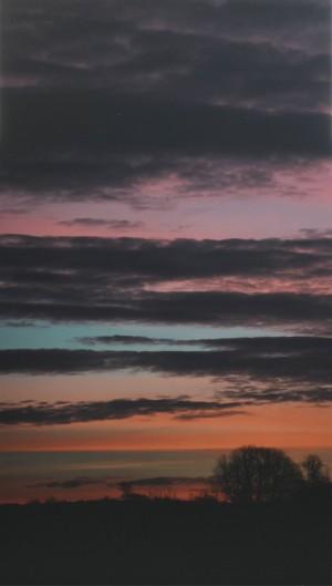 Henrik Hornbæk Thomsen. 'Colorfull morning' - Dk, Aarhus, Egå Havvej - Henrik Hornbæk Thomsen (f.1966) Fotografi fra serien The field 'Colorfull morning' Lambda print monteret på Dibond (aluminium), signeret på bagsiden, vægbeslag medfølger. 138 x 78 cm. - Dk, Aarhus, Egå Havvej