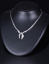 Vintage diamond necklace, 18 kt. white gold, total approx. 2.50 ct