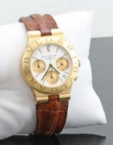18kt Bvlgari automatic chronograph watch with box and papers