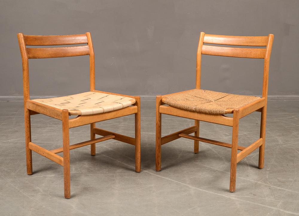 Stolar i ek med sadelgjord sits och papirflät (6) |