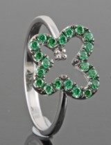 Green emerald ring approx. 0.54ct