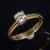 Ring with brilliant cut diamond, 0.60ct, 14kt,