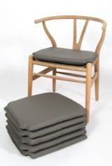 Hyndesæt til Hans J. Wegners Y- stol. Grå læder. (6)