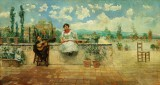 Juan Aldaz y Sanchez. Pair of musicians on terrace, Spain. Oil on canvas