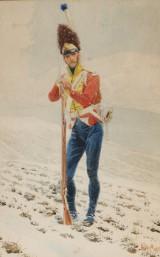 Andreas Bloch, Portræt, tegning, soldat