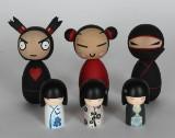 Kimmidoll, tre styck samt Kokeshi, Ninja, 3 st