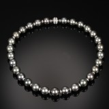 Tahitian cultured pearl and diamond necklace, 18 kt. white gold. Ø approx. 12.84 -14.56 mm