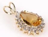 Citrin og diamantvedhæng.