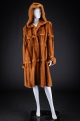 Mink coat with hood, colour: palomino, size 40