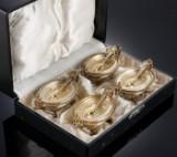 Et sæt på fire, tyske saltkar af delvist forgyldt sølv, 1800-tallets slutning (4)