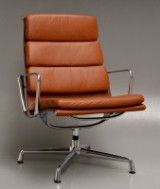 Charles Eames. Lounge chair, model EA-216, 'Full leather', black leather