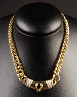 Necklace of 750 gold with brilliant cut diamonds and citrine