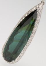 Tourmaline and diamond pendant, white gold