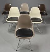 Charles Eames. Sæt på seks skalstole, model DSR (6)