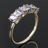 Tanzanite og diamant ring