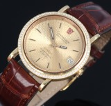 Omega 'Constellation Electronic f 300 Hz'. Vintage men's watch, 18 kt. gold with diamonds, certificate 1973