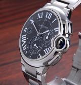 Cartier 'Ballon Bleu Chronograph'. Men's watch, steel, with dark dial - box + certificate 2016