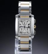 Cartier 'Tank Francaise Chronoflex'. Herrenuhr aus 18 kt. Gelbgold und Stahl mit hellem Zifferblatt, 2000er Jahre