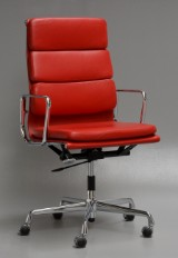 Charles Eames. Office chair with armrests, model EA 219, Ferrari red 'Full Leather'