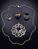 H. Fischer m.fl. Samling smykker af sterlingsølv og sølv (5)