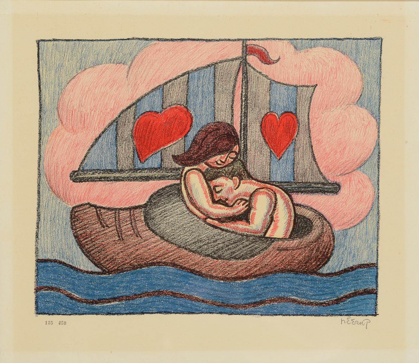 Henry Heerup cd. Litografi - Henry Heerup 1907-1993. Kvinde og mand i træskobåd, nr. 135-450. Sign. Heerup. 42 x 48 cm (46 x 53)