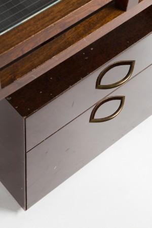 Schreibtisch mit container holz glas for Schreibtisch holz glas