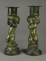 To stager af patineret bronze, W. Green, ca. 1930'erne (2)