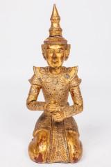 Knieende Statue / Begleitfigur / Kultfigur / Holzfigur, Thailand, vergoldet