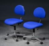 Labofa - Par kontorstole med blå uld (2)