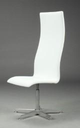 Arne Jacobsen. Højrygget Oxford kontorstol, original hvid læder