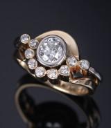 Henrik Ørsnes. Diamond ring, 14 kt. gold and white gold, total approx. 1.46 ct