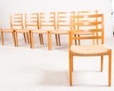Niels O. Møller, 6 chairs/dining table chairs model 85 in oak for Møllers Møbelfabrik (6)