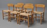Børge Mogensen. Six oak chairs, model J39 (6)