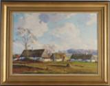 Axel kleimer, oljemålning, landskap med gård