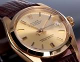 Rolex Datejust midsize ladies' watch, 18 kt. gold, champagne-coloured dial, c. 1975